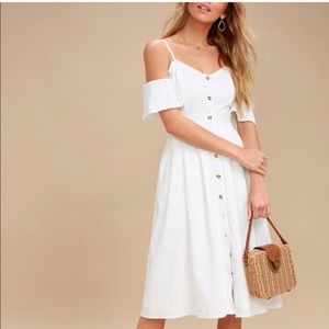 Lulus white off the should midi dress